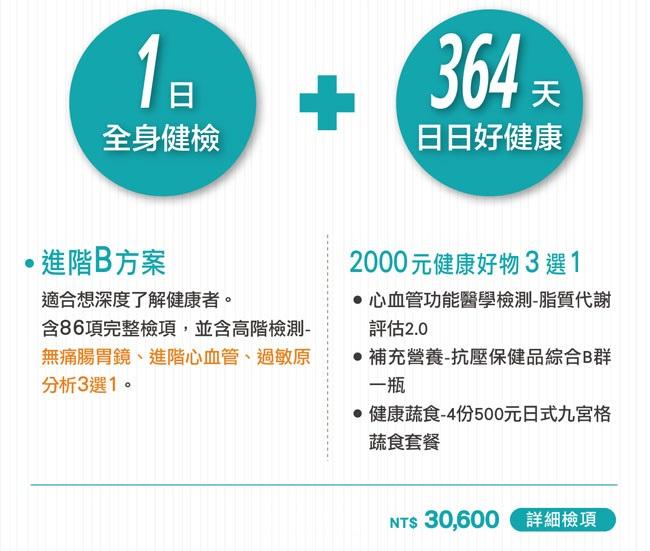 全身健檢B方案+2000元健康好物3選1